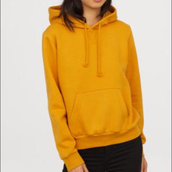 966cdb351 H&M Tops   Mustard Yellow Hooded Sweatshirt   Poshmark